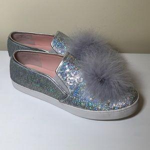 New Kate Spade Latisa Silver Sequin Pom Sneaker